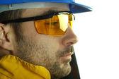 Worker whit blue helmet — Stock Photo