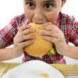 Boy eating hamburger — Stock Photo #4914424