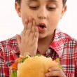 Boy eating  hamburger - Stock Photo