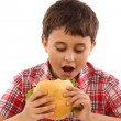 Boy eating a big hamburger — Stock Photo