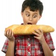 Stock Photo: Boy eating hamburger