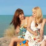 Girls at the beach — Stock Photo