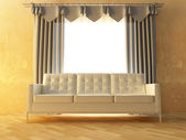 Sofa and curtain — Stock Photo