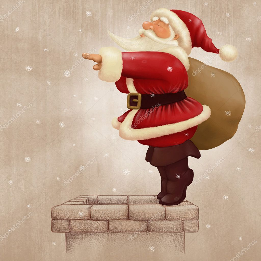 Santa Claus dive in the fireplace in the christmas night  Stock Photo #4398542