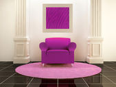 Interiors - Violet seat between the columns — Stock Photo