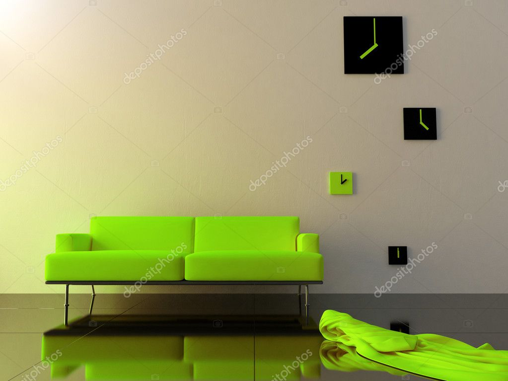 Green sofa in modern style interior  Stock Photo #4650573