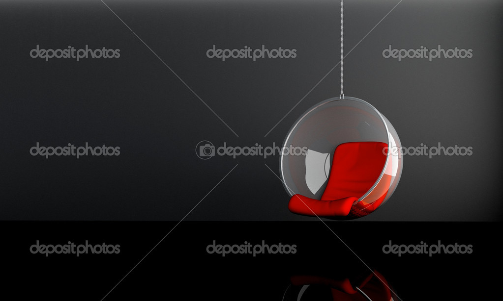 Modern suspended seat in dark interior room  Stock Photo #4833523