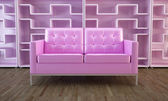 Pink sofa and bookcase — Stock Photo
