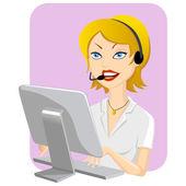 Call Center Girl — Stock Vector