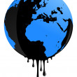 Stock Vector: Earth oil pollution