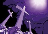 Crosses on Golgotha and light of resurrection — Stock Vector