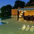 Luxury Villa garden - Night time - Foto de Stock