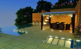 Luxury Villa garden - Night time — ストック写真