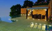 Luxury Villa garden - Night time — Stock Photo