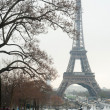 Stockfoto: Eiffel tower under snow - Paris