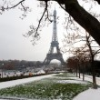 Stock Photo: Eiffel tower under snow - Paris
