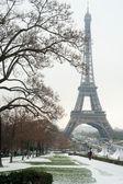根据雪-巴黎埃菲尔铁塔 — 图库照片