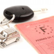 Key car with little key ring in car's shape — Foto de Stock