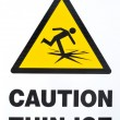 Thin Ice Warning Sign — Stock Photo