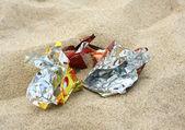 śmietnik na plaży — Zdjęcie stockowe