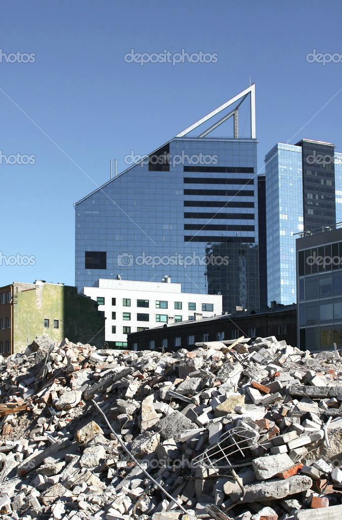 Demolition of building in the city center  Stock Photo #4962206