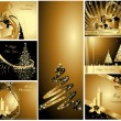 Merry Christmas and Happy New Year collection - Imagens vectoriais em stock