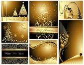メリー クリスマスと新年あけましておめでとうございますコレクション — ストックベクタ