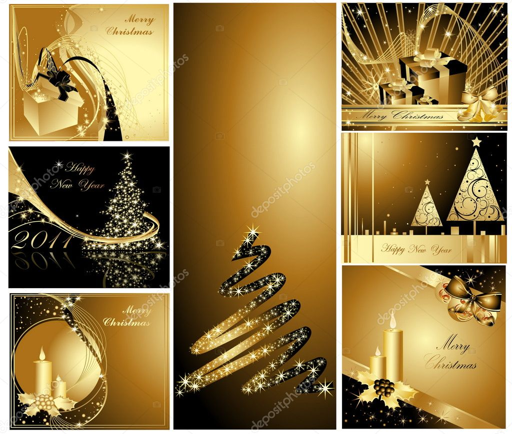 Merry Christmas and Happy New Year collection — Imagen vectorial #4052854