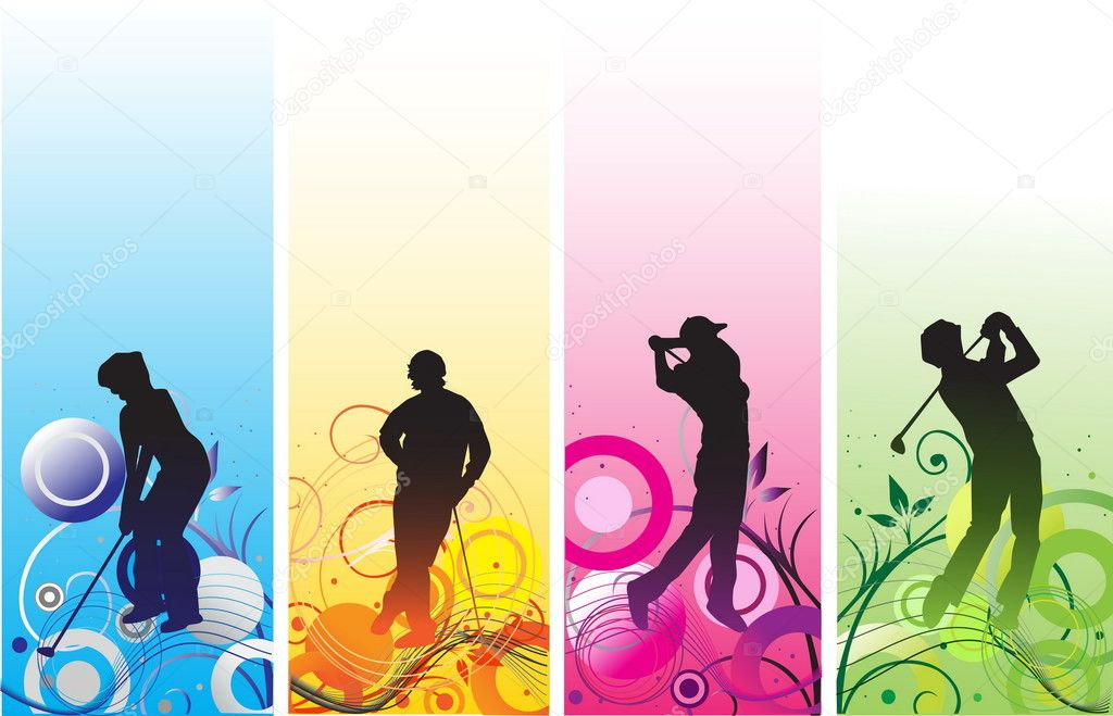 Golf players silhouettes — Stock Vector #4668097