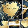 Collection of Valentine's greeting cards — Vettoriale Stock