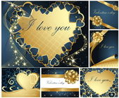 Collection of Valentine's greeting cards — Vector de stock