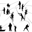 Set of Fisherman vector silhouettes - Stock Vector