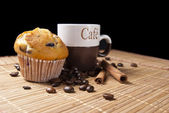 Cup of coffee and muffin — Stock Photo