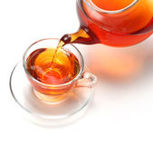 Cup of tea and teapot — Stock Photo