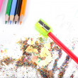 Stock Photo: Sharpened pencil and wood shavings.