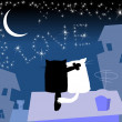 Cat on roof — Imagen vectorial