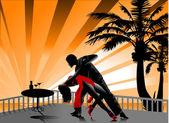 Tango sur la plage — Vecteur