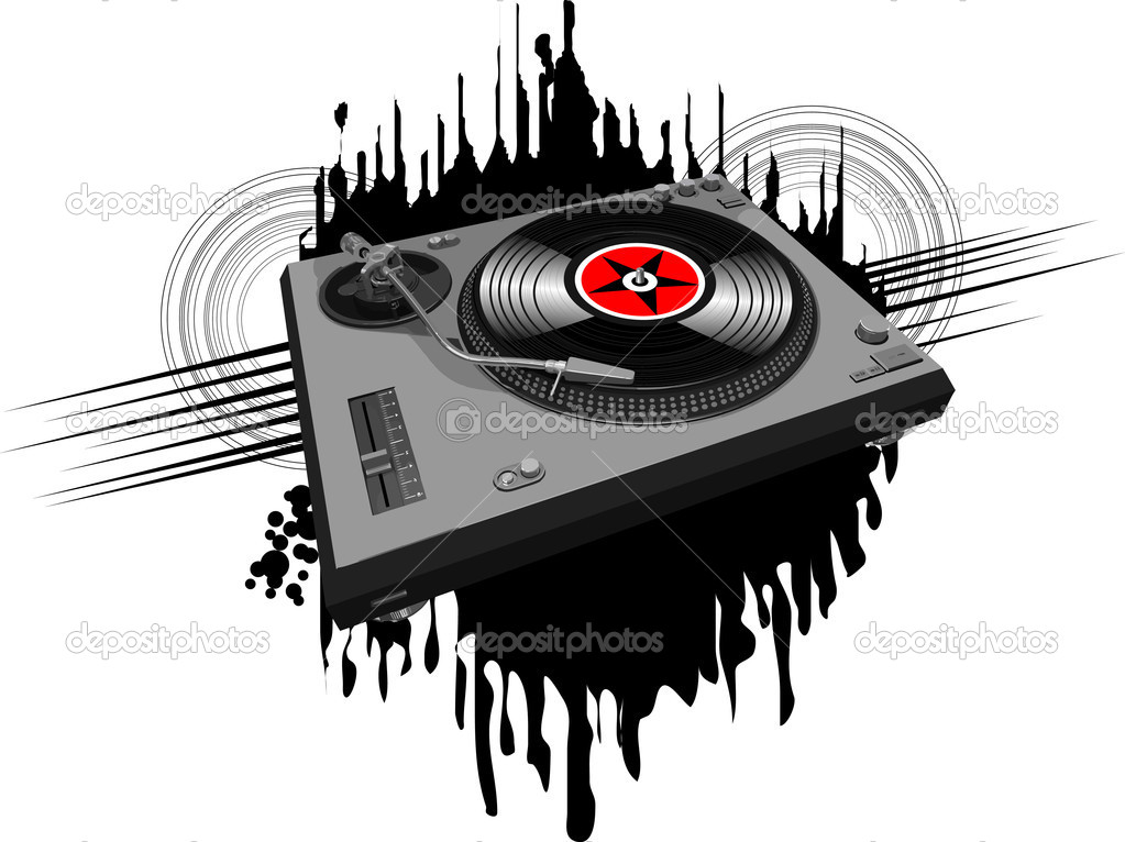 Music poster halftone design with DJ record player;  — Stock Photo #4948564
