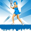 Girl with racket - Image vectorielle