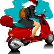 Girl on scooter — Stock Vector