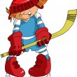 Stock Vector: Little hockey player