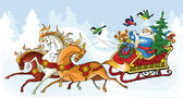 Santa Claus and the horses — 图库矢量图片