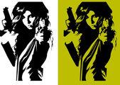 Assassino de mulher — Vetor de Stock