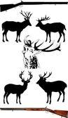 Ciervo negro — Vector de stock