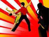 舞蹈和萨克斯管 — 图库矢量图片