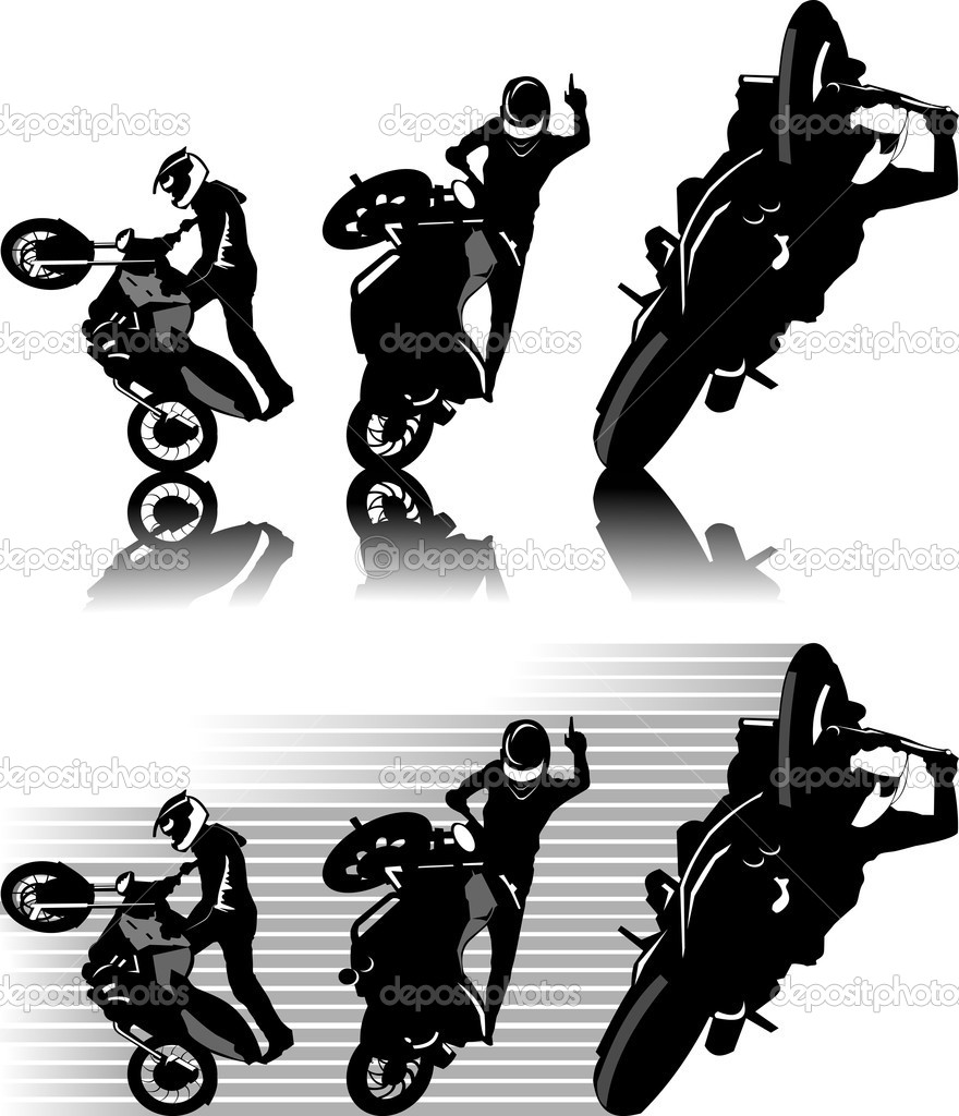 A silhouette of a motorcycle racer commits high jump;  — Stock Vector #5294484