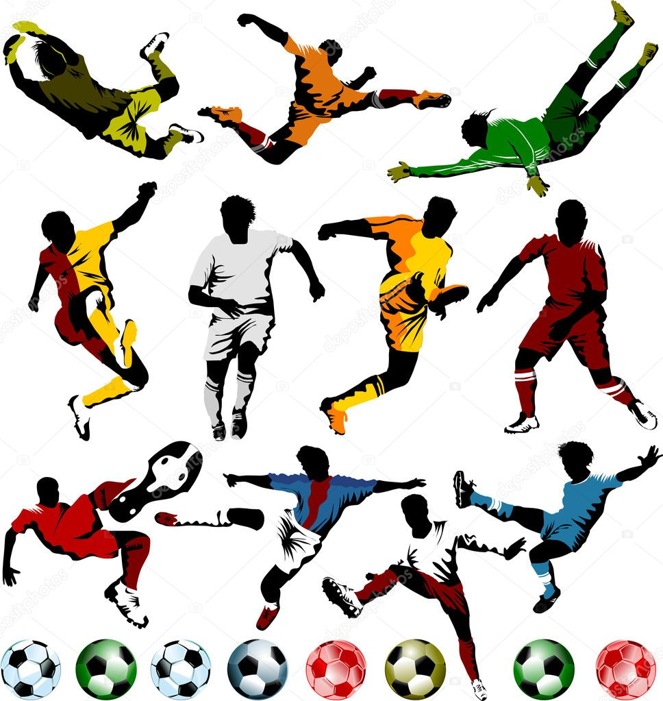 Soccer players collection stock illustration