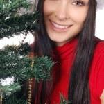 Beautiful and sexy mrs. santa isolated — Stock Photo