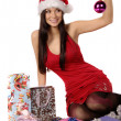 Beautiful and sexy mrs. santa isolated - Stock Photo