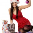 Beautiful and sexy mrs. santa isolated — Stockfoto #4222355